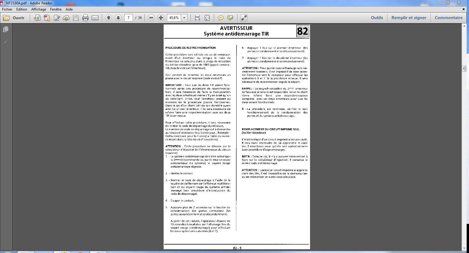 probléme anti démarrage avec clef infrarouge twingo d7f 1999 Procyd10