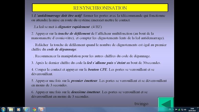 probléme anti démarrage avec clef infrarouge twingo d7f 1999 Resync10