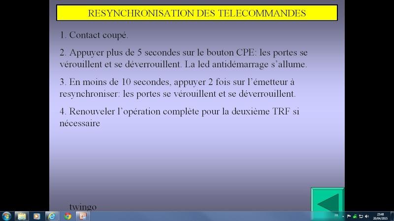 probléme anti démarrage avec clef infrarouge twingo d7f 1999 Resync11