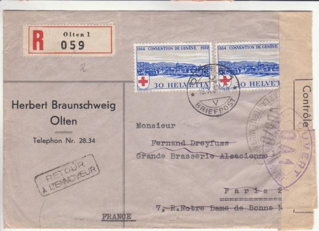 Lettre recommandée de Suisse du 18.10.1939 pour Paris - Retour à l'envoyeur _1000210