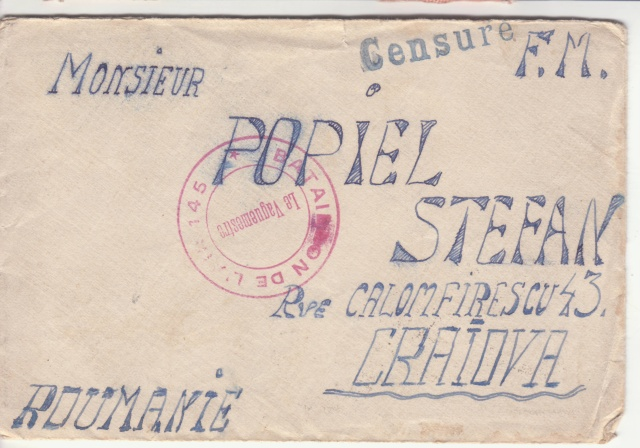 """Cachet linéaire """"Censuré"""" sur plis du Bataillon de l'air 145 vers la Roumanie en mai 1940 _1002710"""