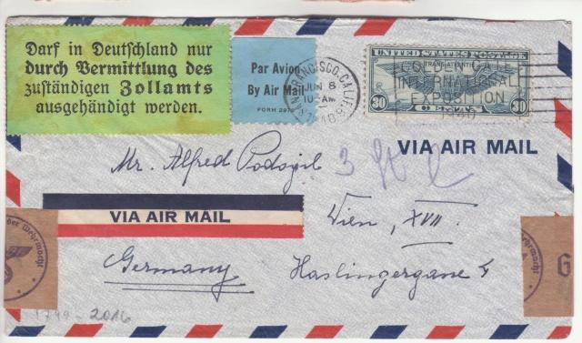 """Etiquettes vertes """"à présenter à la douane"""" sur courrier vers le Reich. _2000110"""