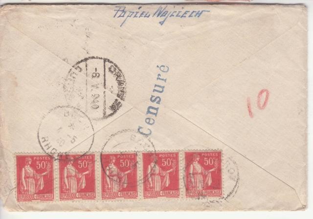 """Cachet linéaire """"Censuré"""" sur plis du Bataillon de l'air 145 vers la Roumanie en mai 1940 _2001910"""