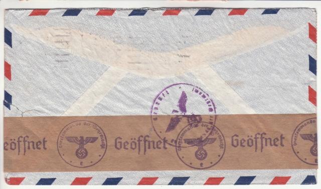 """Etiquettes vertes """"à présenter à la douane"""" sur courrier vers le Reich. _2100010"""
