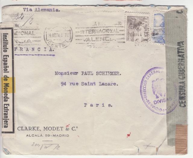 Contrôle des devises du courrier au départ d'Espagne. _3002710