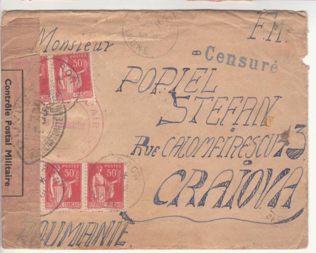 """Cachet linéaire """"Censuré"""" sur plis du Bataillon de l'air 145 vers la Roumanie en mai 1940 _4001910"""