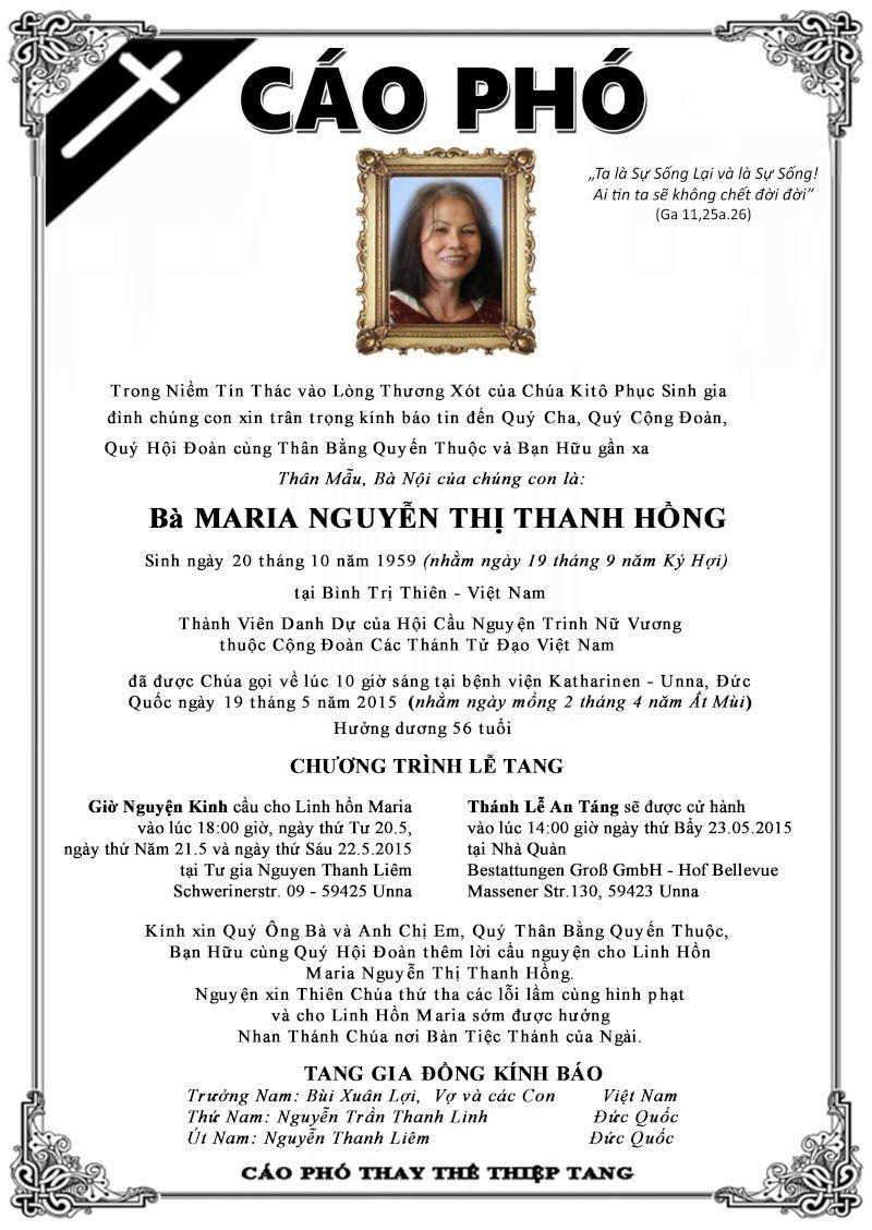 CÁO PHÓ Xin Cầu Cho Linh Hồn Bà Maria Nguyễn Thị Thanh Hồng Caopho11