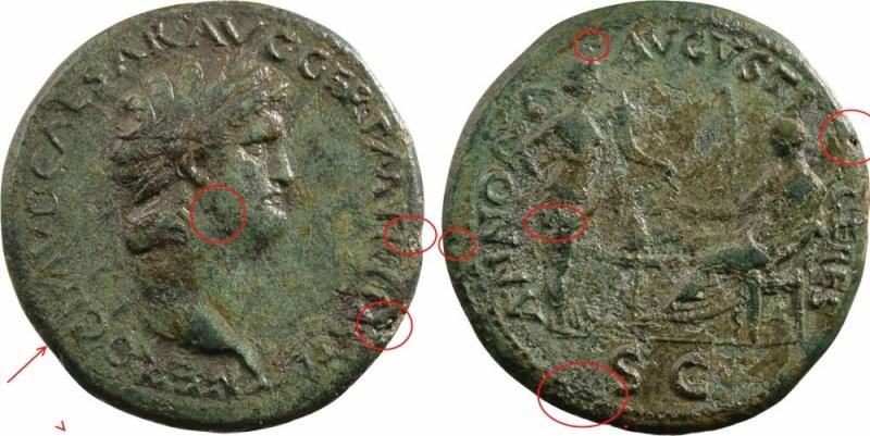 Bronzes antiques regravés : avant - après Nero_a10