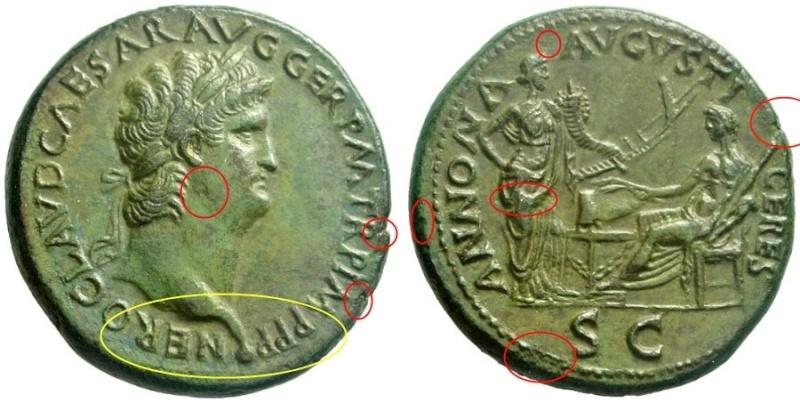 Bronzes antiques regravés : avant - après Nero_l10