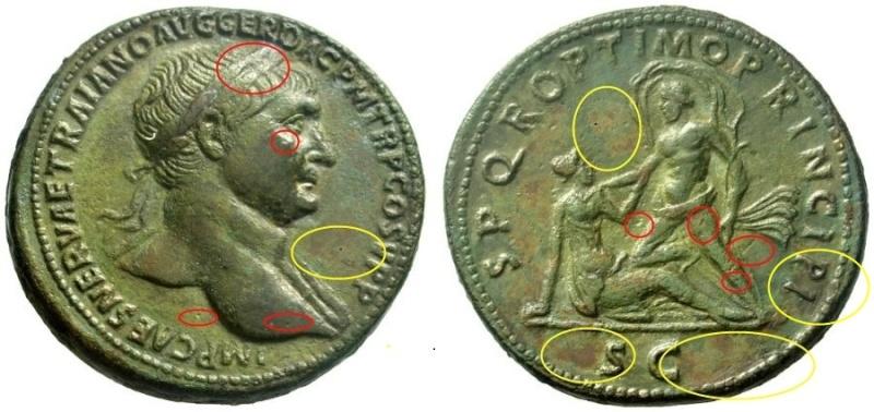 Bronzes antiques regravés : avant - après Trajan10