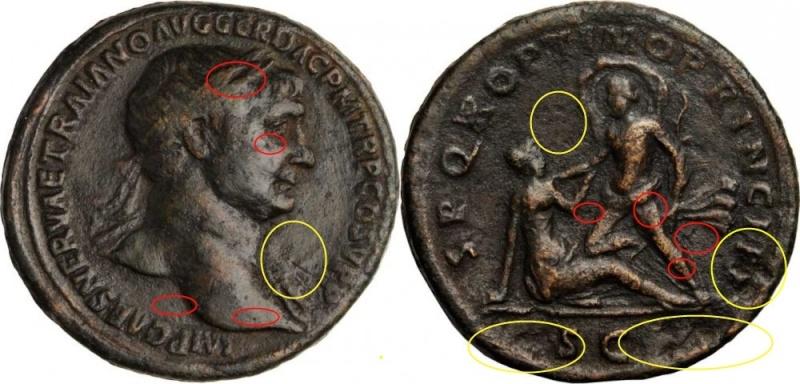 Bronzes antiques regravés : avant - après Trajan12
