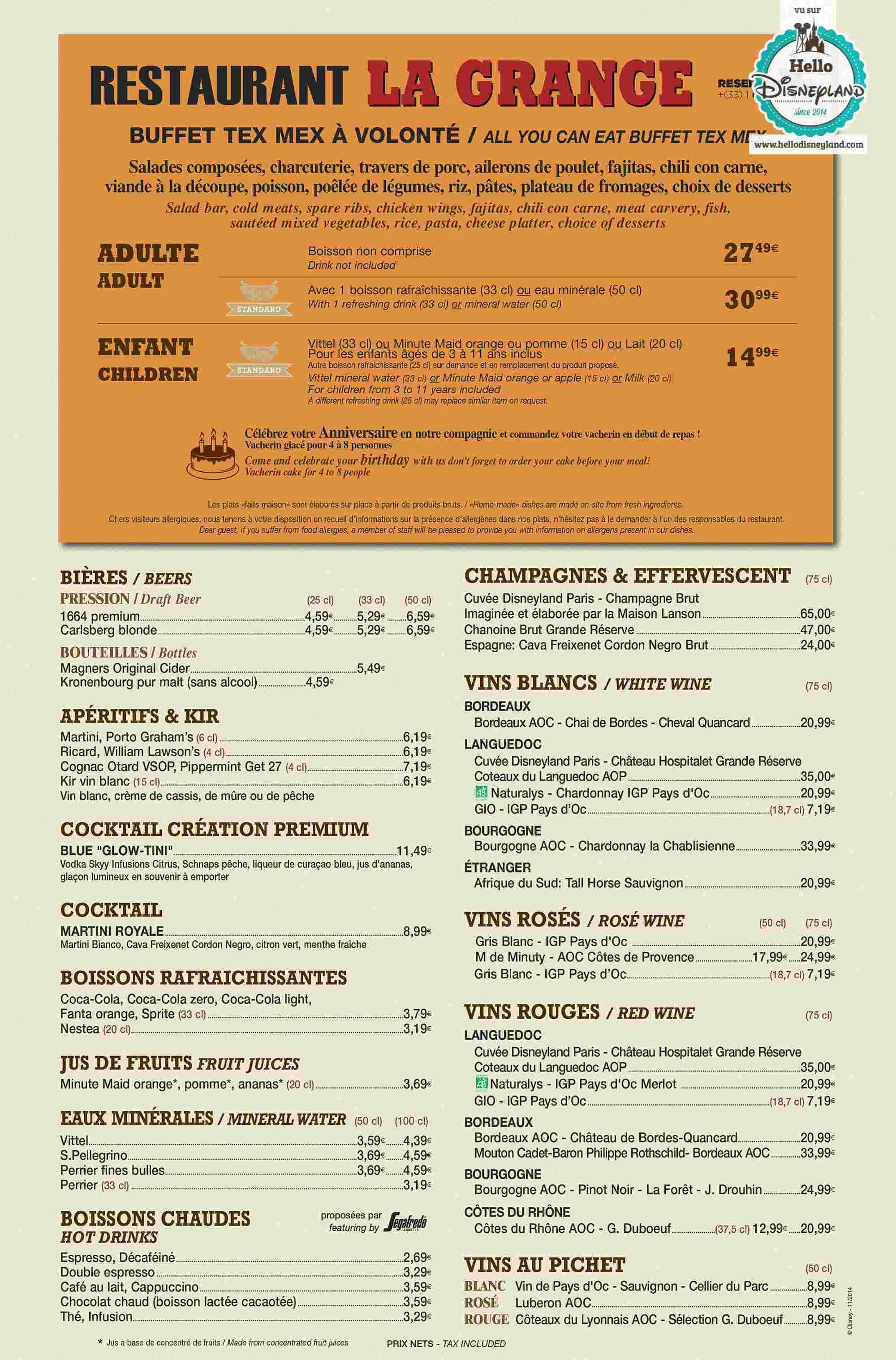 Disney Village :: Billy Bob's Country Western Saloon - Pagina 10 Menu-r37