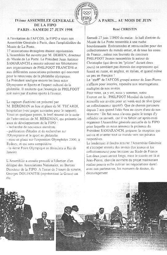 AFCOS Revue - Esprit Sport & Olympisme - N°10bis - Octobre 1998 - Sommaire N100210