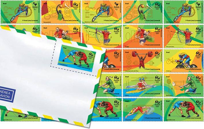 Rio 2016 Stamps - Olympic Games - Basketball, rugby, weightlifting, rowing, aquatics, archery, cycling, badminton & wrestling Rio20110
