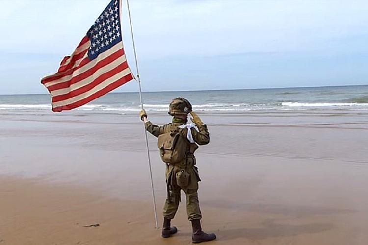 en salut pendant 1h sur la plage de Normandie 750x5010