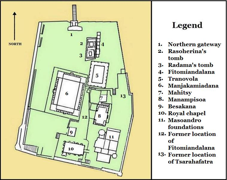 Le Palais de la Reine (Rova Manjakamiadana), Tananarive (Antananarivo) à Madagascar. Map_of10
