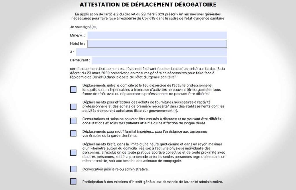 Une nouvelle version de l'attestation de déplacement dérogatoire  1200x710