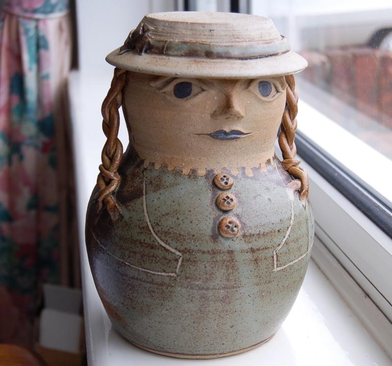 Girl figural Biscuit barrel Img_7810