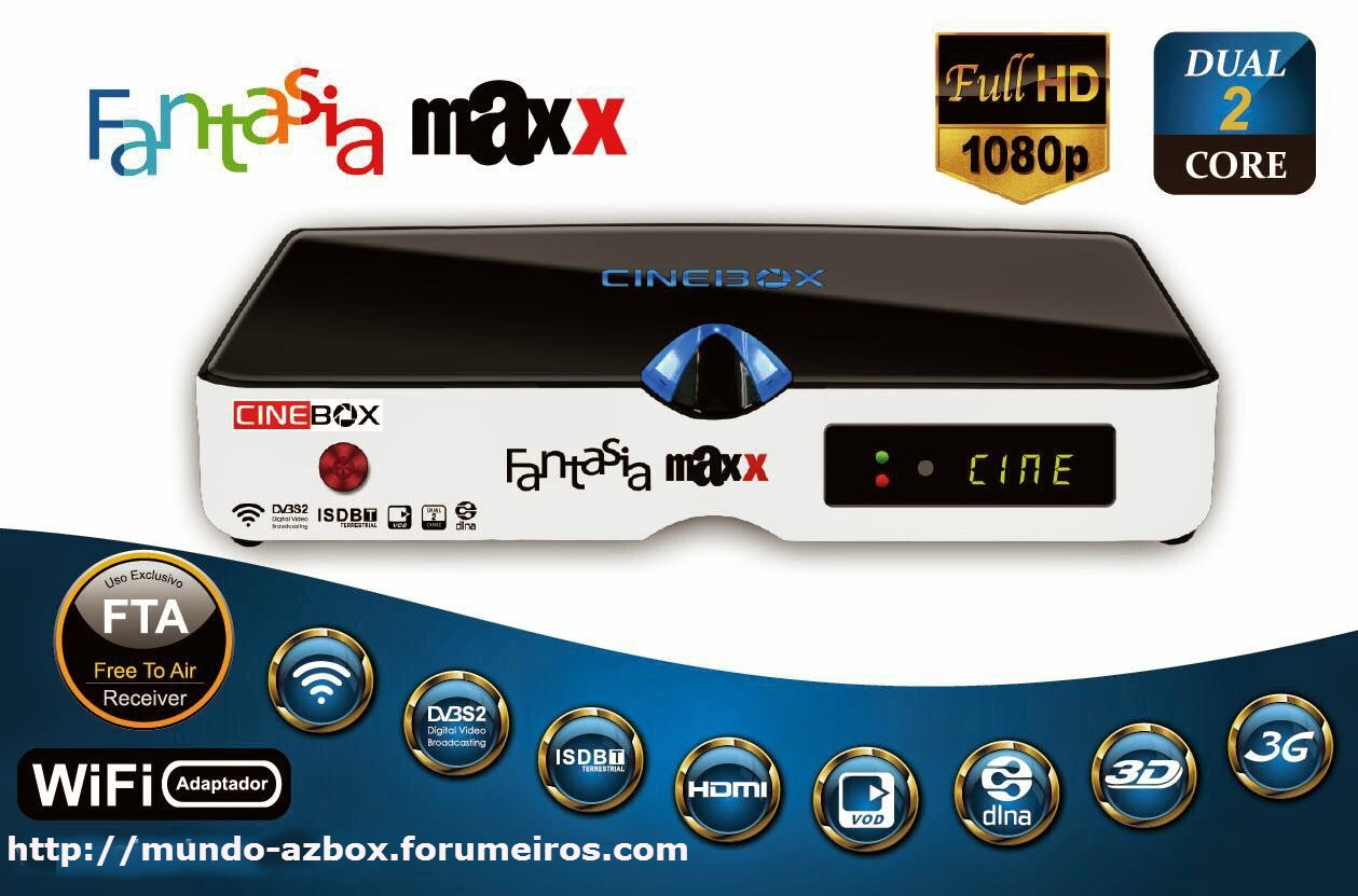 CINEBOX FANTASIA HD MAXX DUAL 2 CORE - 3 TURNERS - LANÇAMENTO  Mm10