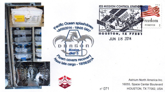 Enveloppe ayant voyagé à bord de l'ATV-4 Albert Einstein / la Station Spatiale Internationale et la capsule Dragon CRS-3 2014_010