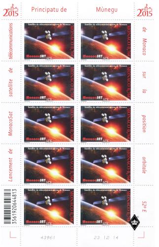 Lancement du satellite MonacoSat - Emission d'un timbre par Monaco Ssi_110