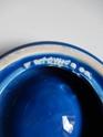 Blue glazed moulded circular dish, obscured embossed mark dated '69 Dscn2324