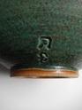 Stoneware bowl, two tone mottled green glaze, two impressed marks... Dscn2421