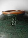 Stoneware bowl, two tone mottled green glaze, two impressed marks... Dscn2422