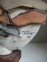Large plinth mounted ceramic sculpture signed Sylvia '84 Troika-esque Dscn2511