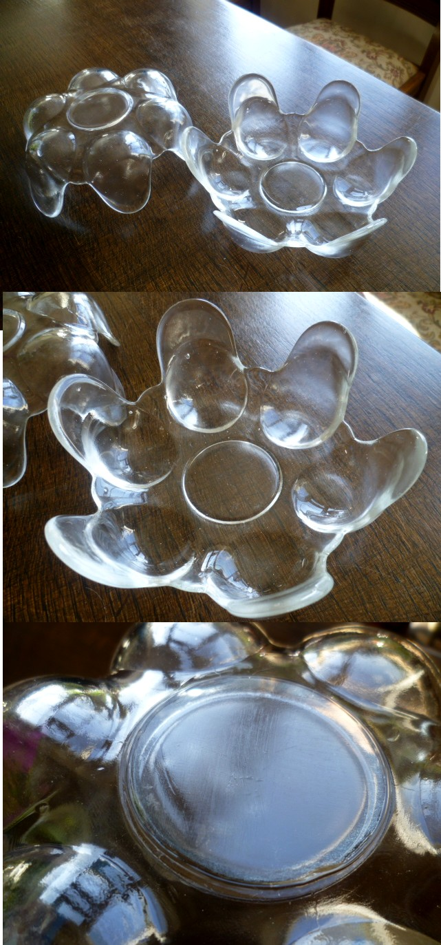 Flame upturned ice pressed glass bowls  Ice10