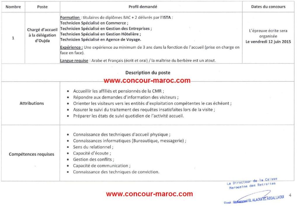 الصندوق المغربي للتقاعد - المندوبية الجهوية وجدة : مباراة لتوظيف مكلف بالإستقبال (1 منصب) آخر أجل لإيداع الترشيحات 13 ماي 2015 Conco108