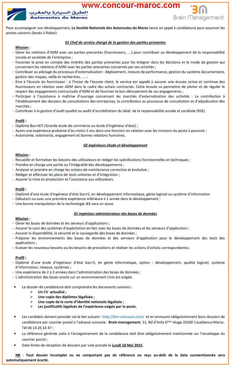 الشركة الوطنية للطرق السيارة بالمغرب : مباراة لتوظيف مهندسو الاعلاميات ,رئيس مصلحة تدبير الفاعلين م الشركاء (4 مناصب) آخر أجل لإيداع الترشيحات 18 ماي 2015  Conco127
