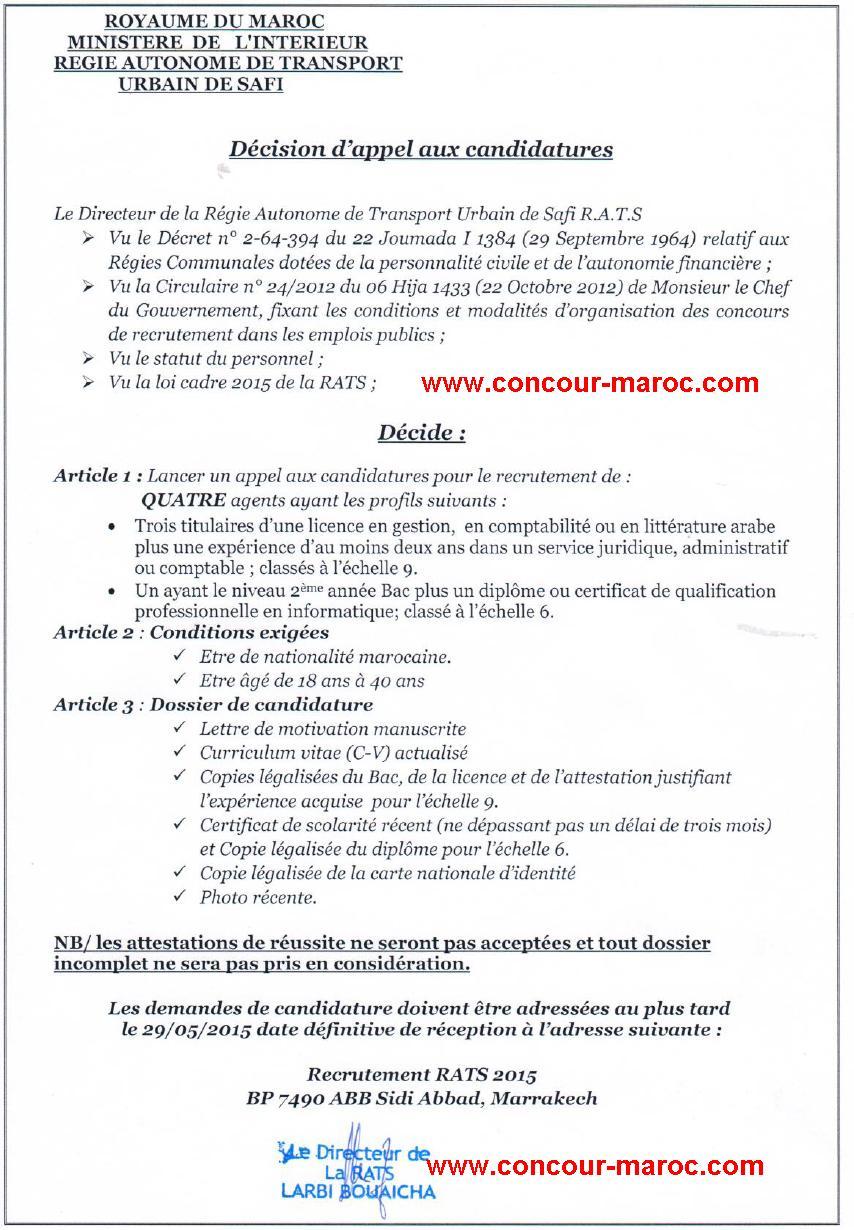 الوكالة المستقلة للنقل الحضري لأسفي : مباراة لتوظيف مستخدمين (4 مناصب) آخر أجل لإيداع الترشيحات 29 ماي 2015  Conco150