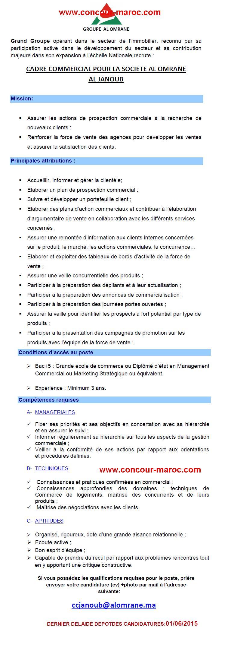 مجموعة التهيئة العمران : مباراة لتوظيف مهندس دولة الجنوب (1 منصب) و اطار تجاري الجنوب (1 منصب) آخر أجل لإيداع الترشيحات 1 يونيو 2015 Conco159