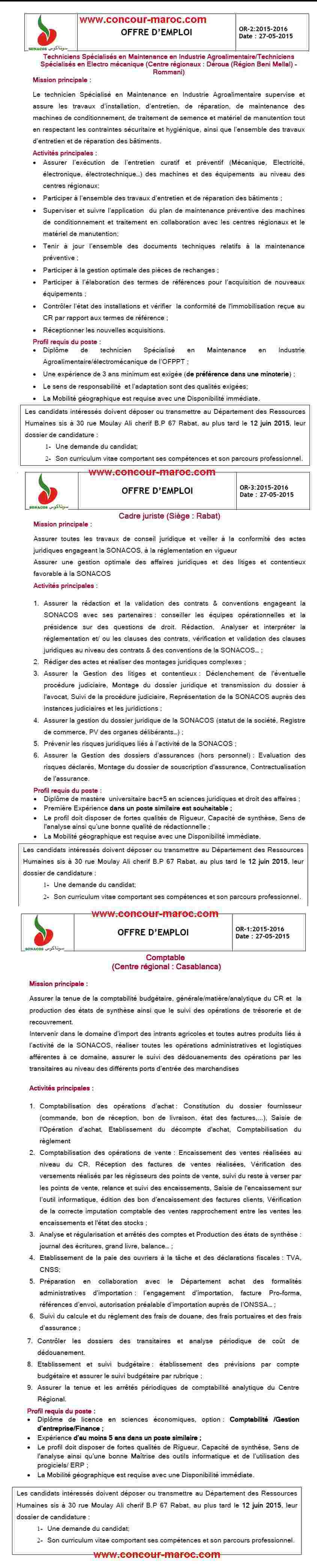 """الشركة الوطنية لتسويق البذور """"سوناكوس"""" : مباراة لتوظيف محاسب (1 منصب) و اطار في القانون (1 منصب) و تقني متخصص  (2 منصبان) آخر أجل لإيداع الترشيحات 12 يونيو 2015 Conco172"""