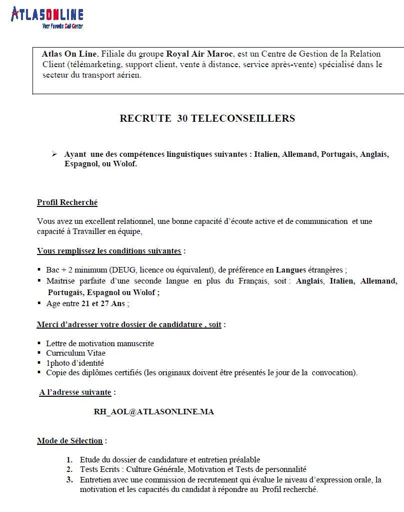 أطلس اون لاين/ الخطوط الملكية المغربية : مباراة لتوظيف مستشار ألهاتف (30 منصب) ر أجل لإيداع الترشيحات 6 ماي 2015  Concou81