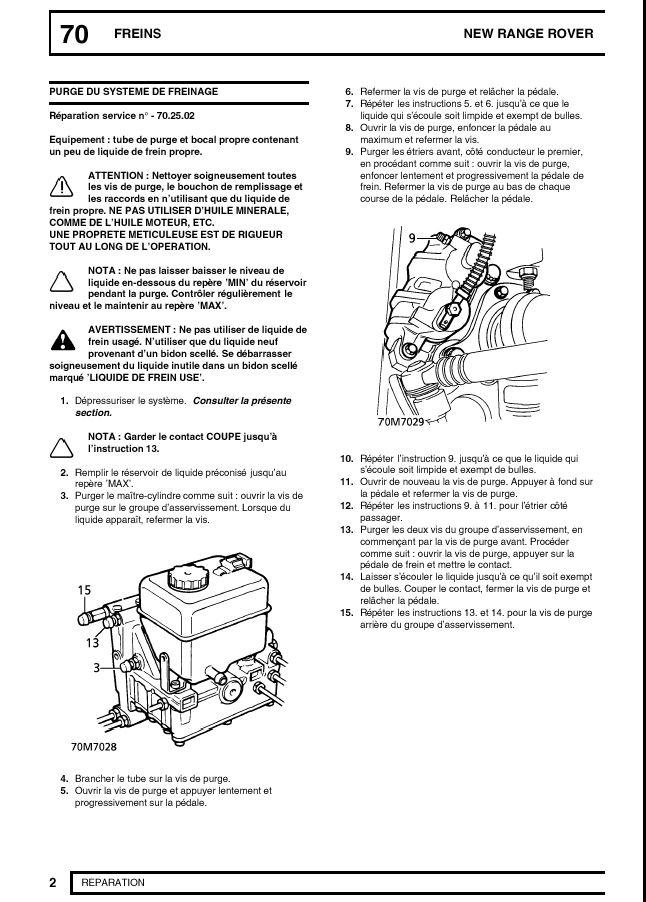 Sifflement accumulateur de pompe de frein Purge110