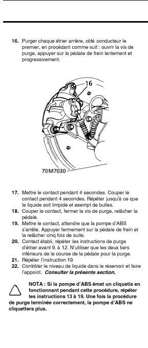 Sifflement accumulateur de pompe de frein Purge210