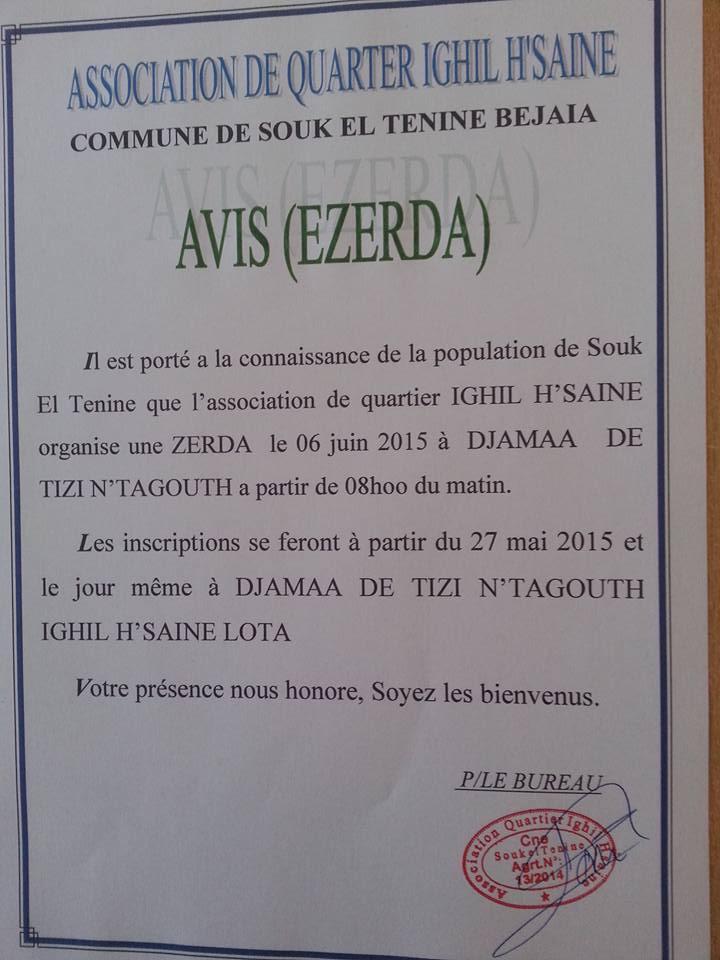 Zerd à Ighil H'saine, Souk El Tenine 611