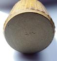 "Fluted stoneware vase with ""GN(?)"" incised mark - Syl Macro Ceramics? Base11"