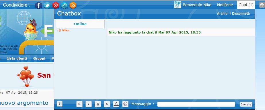 Chatbox - Aggiungere la chatbox nella toolbar Forumattivo Screen10