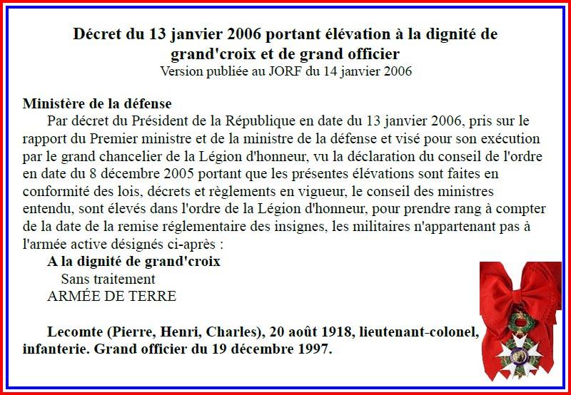 Lecomte Pierre Décret du 13 janvier 2006 portant élévation à la dignité de grand'croix 1_fich10