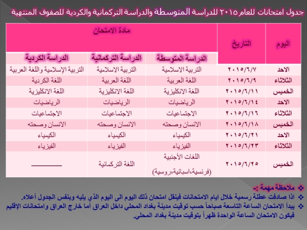 عاجل جدول امتحانات للدراسة المتوسطة والتركمانية والكردية للصفوف المنتهية 2015 الدور الاول  3410