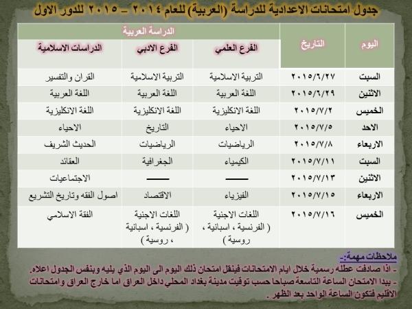 عاجل جدول امتحانات الاعدادية للدراسة العربية 2015 الدور الاول 4110
