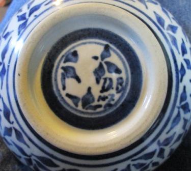 Blue & White Bird Bowl by Dianne Brady Bird_b12