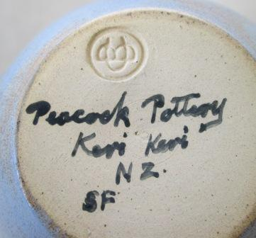"Blue ""Keri Keri"" Bottle is Betty Coates and Len Coates [Peacock Pottery] Peacoc11"