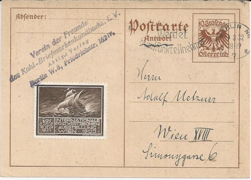 Bedarfspost Ganzsachen Österreich 1925-1938 Bild13