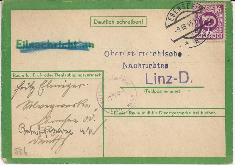 Notmaßnahmen und Provisorien bei Postkarten 1945-1948 Bild42