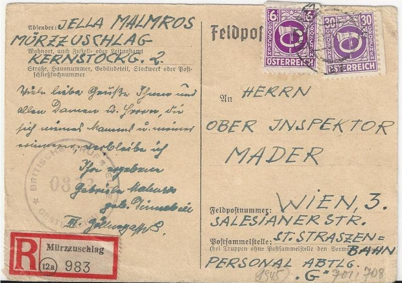 Posthornzeichnung  -  ANK 697-713  -  Belege - Seite 2 Bild_334