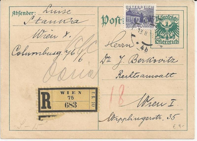 Bedarfspost Ganzsachen Österreich 1925-1938 Bild_340